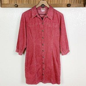 The Territory Ahead Pink Corduroy 3/4 Sleeve Dress
